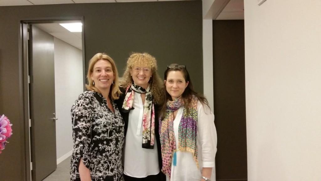 Publisher Amanda D'Acierno, Mary Pope Osborne, and Audio Producer Orli Moscowitz.