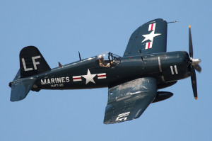 """""""Vought F4U Corsair (USMC)"""" by Gerry Metzler - http://www.flickr.com/photos/flyguy71/7427977930/sizes/l/in/photostream/. Licensed under CC BY-SA 2.0 via Commons - https://commons.wikimedia.org/wiki/File:Vought_F4U_Corsair_(USMC).jpg#/media/File:Vought_F4U_Corsair_(USMC).jpg"""
