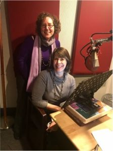 Author Elaine Weiss and audiobook narrator Tavia Gilbert