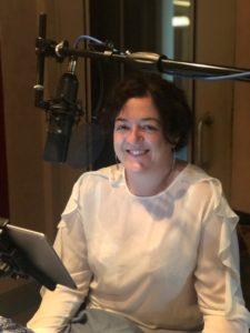 Author Maeve Higgins in the audiobook recording studio