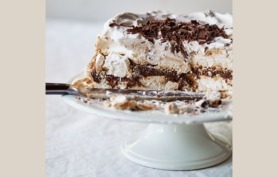 Chocolate Pecan Meringue Torte