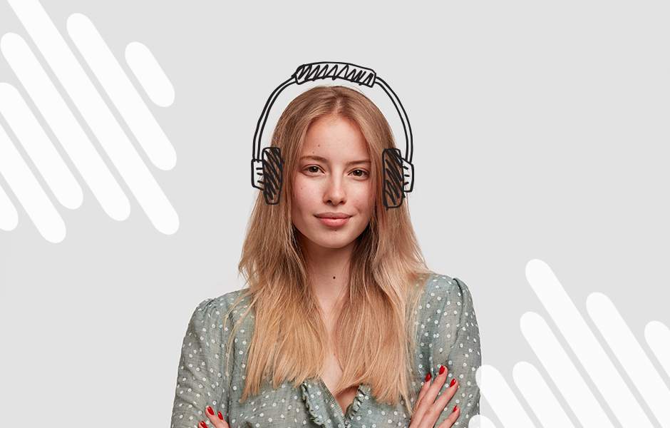 blonde woman with drawn on headphones