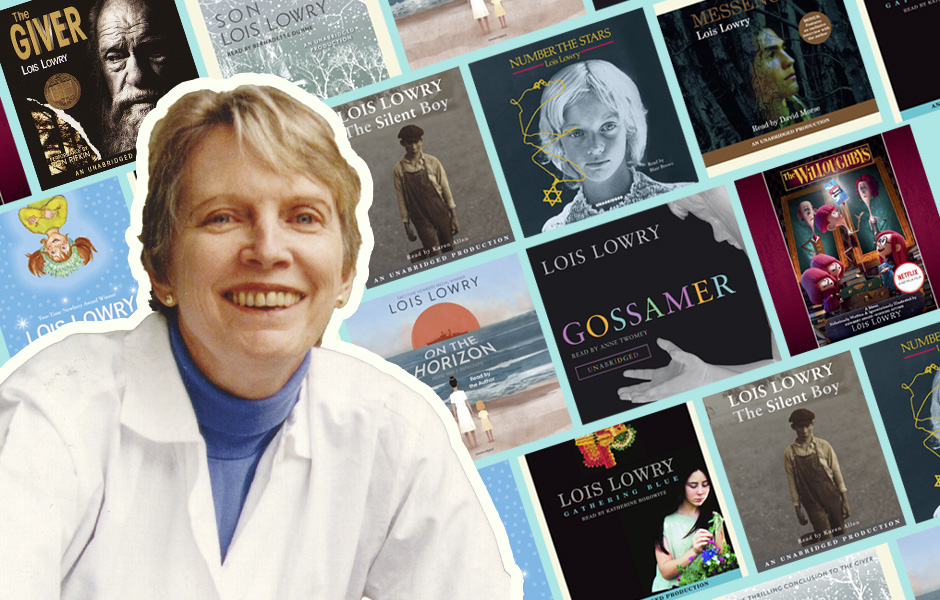 Lois lowry in front of her book covers