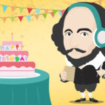 Shakespeare in a birthday scene with headphones on