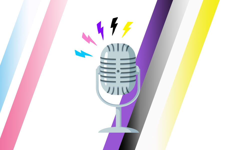 Microphone with multicolored lightning bolts coming out of it