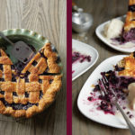 one image of pie with a slice cut out of it next to an image of a slice of blueberry pie