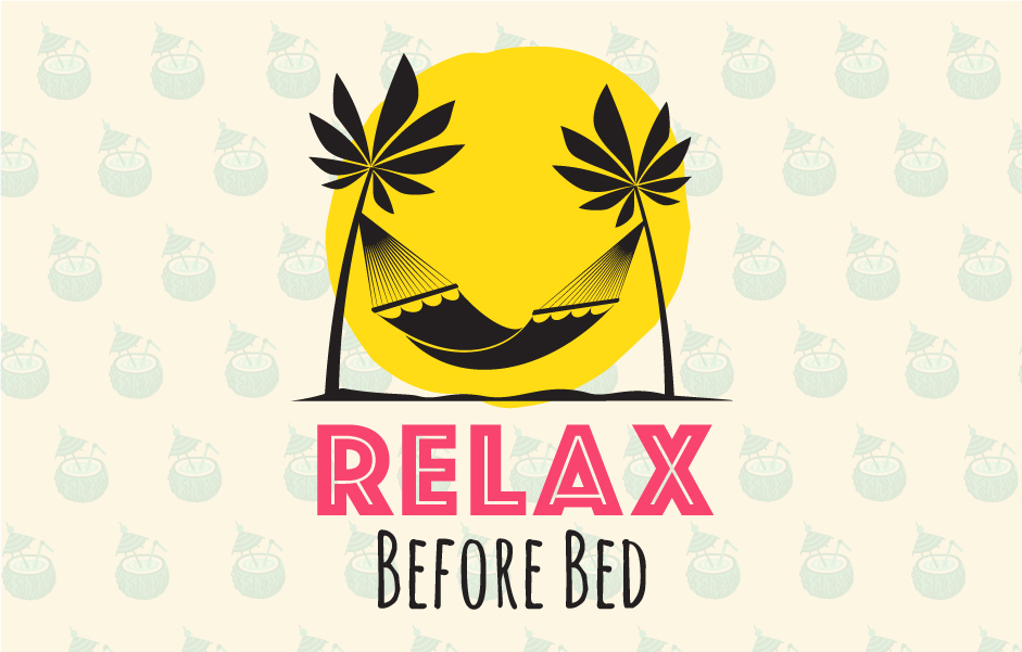 "hammock illustration above text that reads ""relax before bed"""