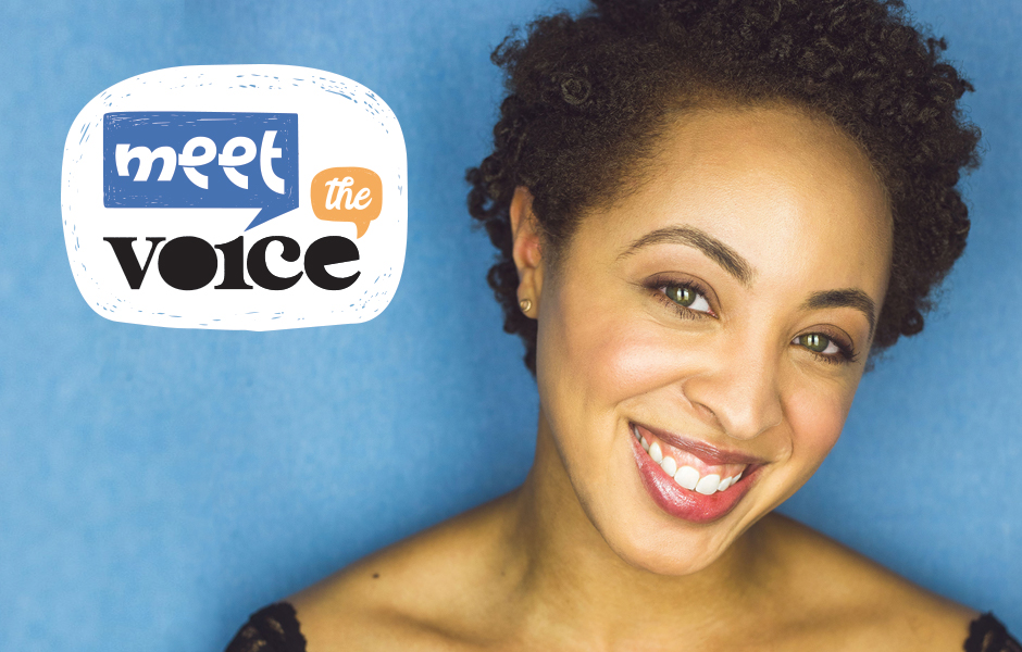 Meet the Voice logo alongside a photo of narrator Shayna Small