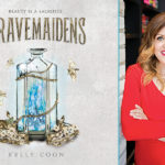 Author Kelly Coon next to the cover of her book Gravemaidens