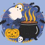 A ghost with headphones, a cauldron, and a pumpkin