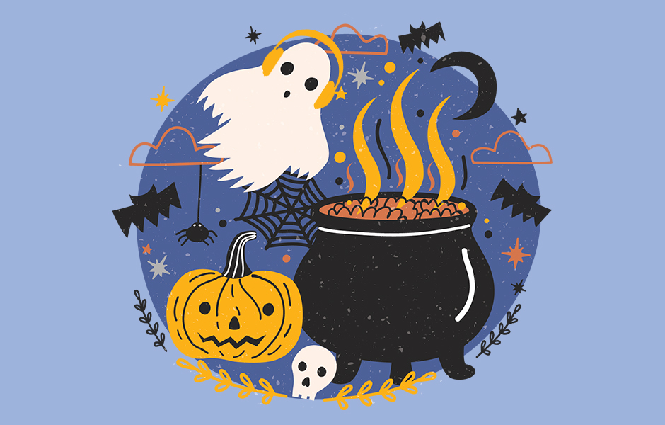 A ghost with headphones, a cauldron, and a pumpkin