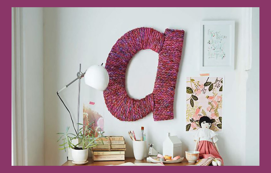 Giant hand knitted monogram of the letter A
