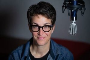 Rachel Maddow in the audiobook recording booth