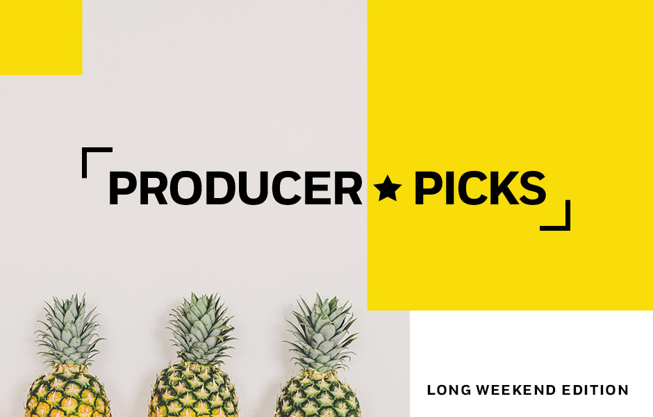 Header image showing a row of pineapples for Producer Picks Long Weekend Edition Post