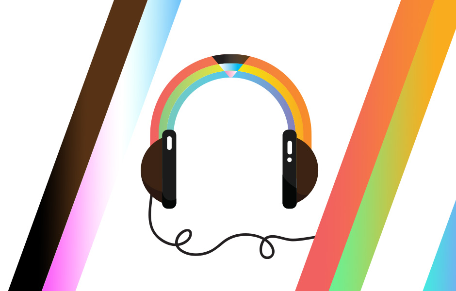 Rainbow Headphones surrounded by rainbow stripes for Pride Month
