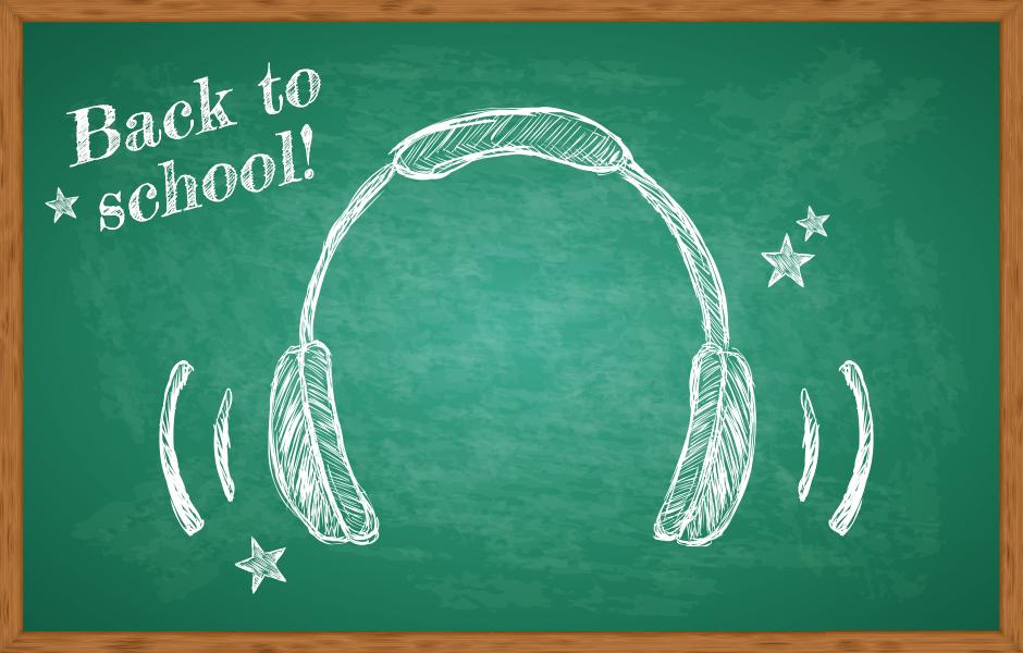 Image of Headphones on Chalkboard for Back to School