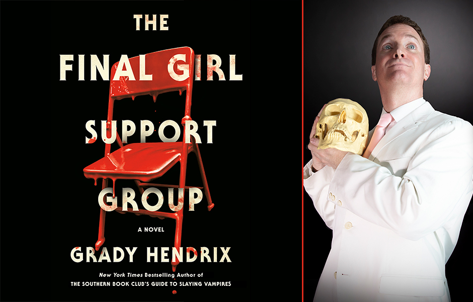 Image of the cover of The Final Girl Support Group and author Grady Hendrix holding a skull