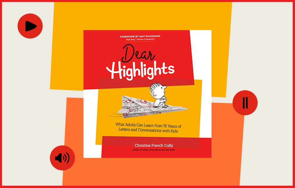 cover of DEAR HIGHLIGHTS surrounded by play, pause, and volume buttons