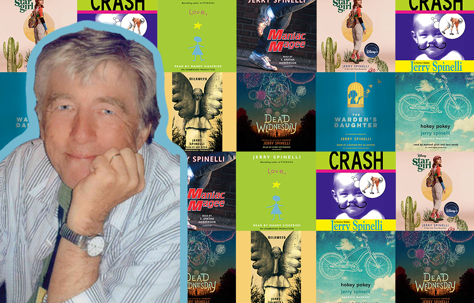 Image of Jerry Spinelli in front of the covers of his his works: Dead Wednesday, Stargirl, Love Stargirl, Crash, The Warden's Daughter, Maniac Magee, Hokey Pokey, and Milkweed