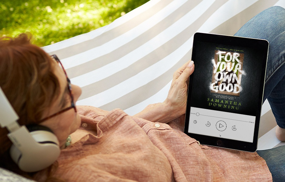 woman in a hammock listening to FOR YOUR OWN GOOD on a device