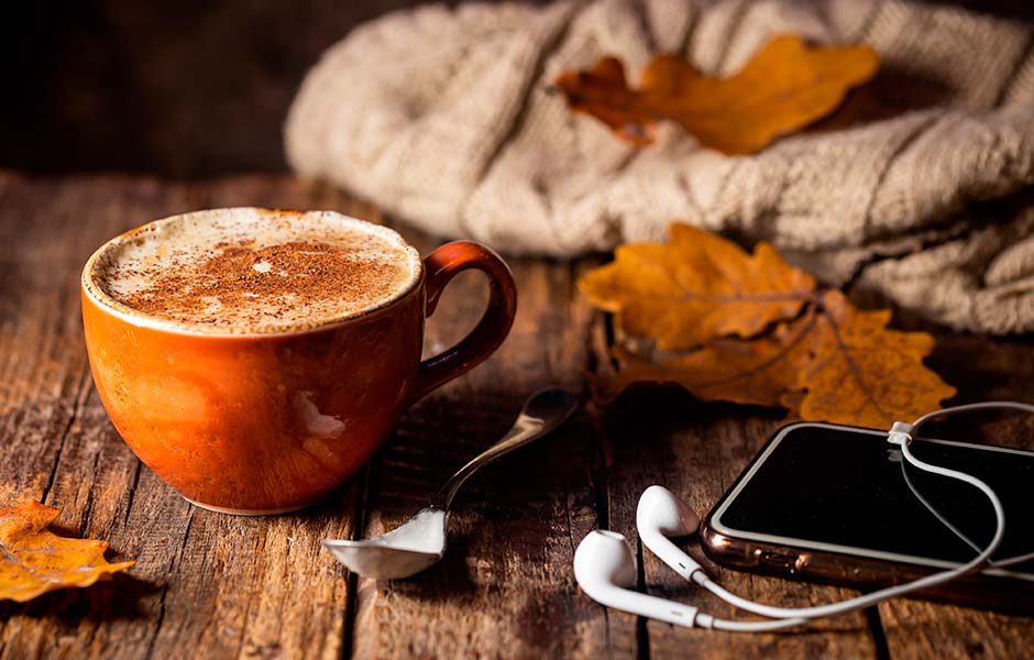 Cozy Mysteries on Audio_Image of Hot Coffee Drink, Phone, and Fall Leaves