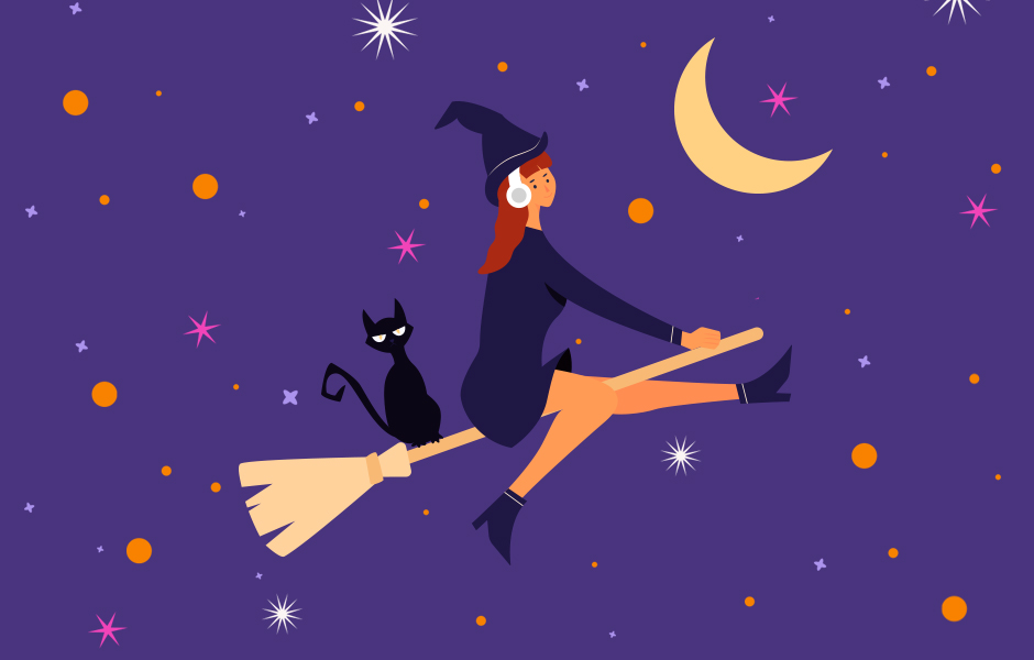 Witch wearing headphones flying on a broom with her little black cat